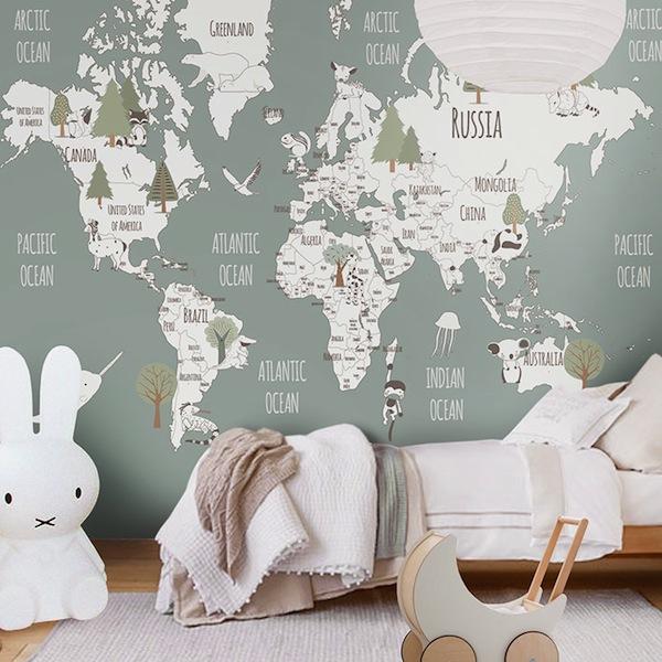 papel de parede estampa mapa mundi
